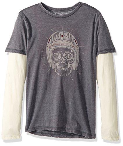 (Lucky Brand Boys' Toddler Long Sleeve Graphic Doubler Tee Shirt, Flint Skull, 3T)