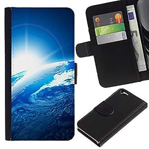 Billetera de Cuero Caso Titular de la tarjeta Carcasa Funda para Apple Iphone 6 4.7 / Space Planet Galaxy Stars 54 / STRONG