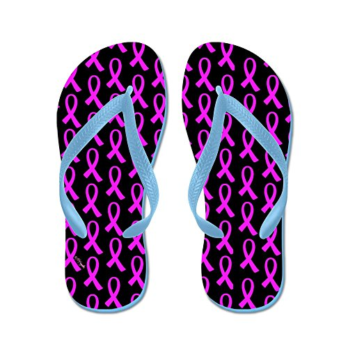 CafePress Breast Cancer Pink Ribbon - Flip Flops, Funny Thong Sandals, Beach Sandals Caribbean Blue
