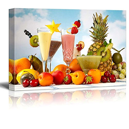 wall26 - Canvas Prints Wall Art - Tropical Fruits Smoothies with Garnishes | Modern Wall Decor/Home Decoration Stretched Gallery Canvas Wrap Giclee Print. Ready to Hang - 16