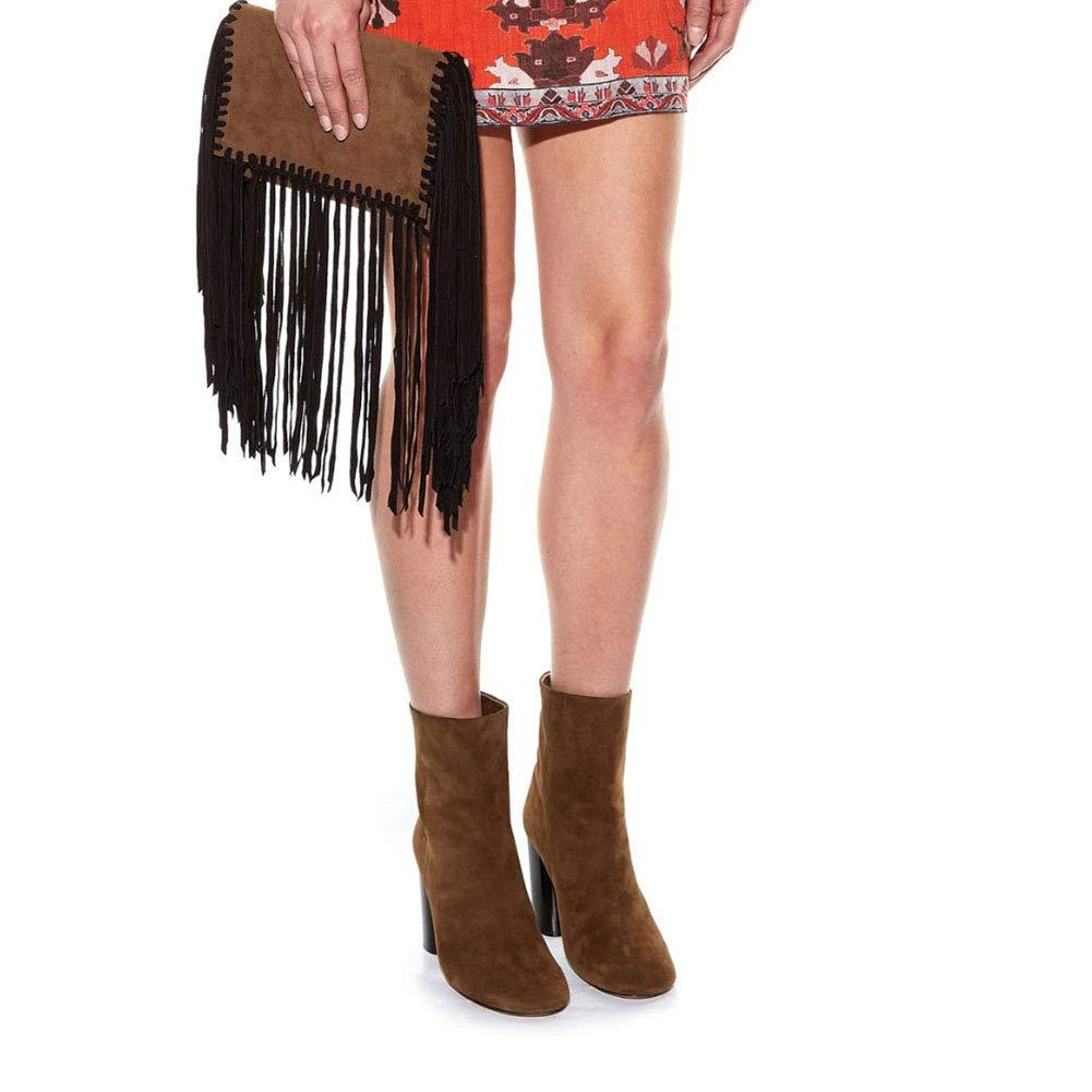 Hy Frauen Booties, Frühling  Herbst  Frühling  Winter Kunstleder Suede Thick Ferse Quaste Stiefel, Damen Zipper Ankle Stiefel, Mode Stiefel Freizeitschuhe (Farbe   Schwarz, Größe   43) 2a3ed0