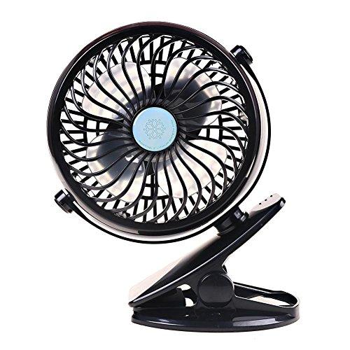 Intbase USB Clip Desk Fan,USB Charging Fan, 360° Rotation USB Clip Desk Fan Mini USB Personal Cooling Fan, Powerful Wind for Baby Stroller,Outdoor Activity, Office (Black)