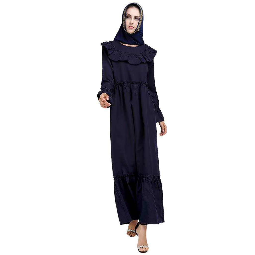 Muslim Summer Print Trumpet Sleeve Embroidery Elegant Swing Dress KIKOY Blue by Kikoy muslim womens dress (Image #1)
