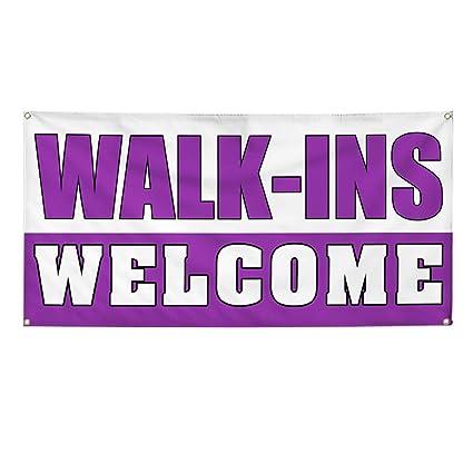 Amazon com : Vinyl Banner Sign Walk-Ins Welcome #1 Business