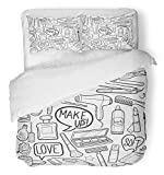 Emvency 3 Piece Duvet Cover Set Breathable Brushed Microfiber Fabric Bathroom Beauty Make up Girl Day Doodle Hand Made Cosmetic Glamour Accessories Bedding Set with 2 Pillow Covers Full/Queen Size