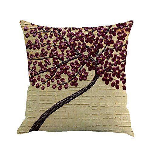 MHB Oil Painting Black Large Tree and Purple Flower Cotton Linen Throw Pillow Covers 15% Cotton and 85% Polyester Pillowcase 18 x18 Inch (Cream) (Purple Lumbar Pillow)
