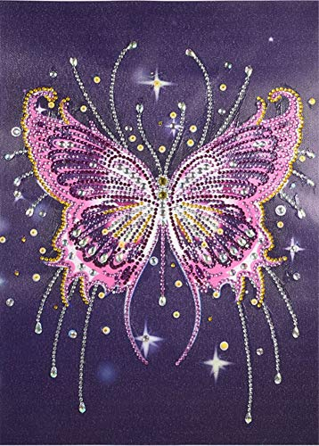 Diamond Painting DIY 5D Special Shape Rhinestones, ABEUTY Pink Butterfly, Partial Drill Crystal Diamond Art Kits