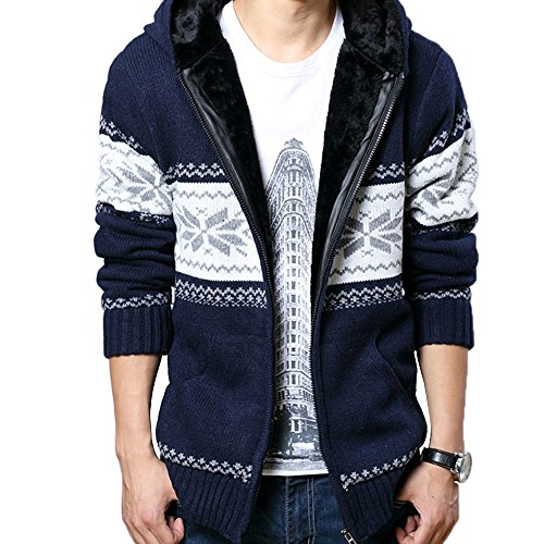 Skin Ken Mens Winter Faux Fur Lined Zip Up Hooded Cardigan Sweater Coat (Snowflake-Deep Blue, - Chart Size Mens Skins