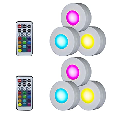 Walmeck LED Under Cabinet Lamp Puck Light with Remote Control Brightness Adjustable Dimmable Timing for Cloakroom Cupboard Wardrobe Kitchen Kids Gifts Waterproof