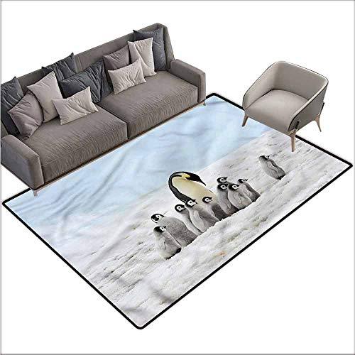 (Kitchen Doormat Underwater,Penguin Family Mom Baby 80