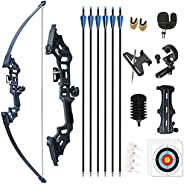 """Monleap 51"""" Bow and Arrows Set for Adults Archery Set Metal Riser Takedown Bow 30-50lb Right Hand Recurve"""