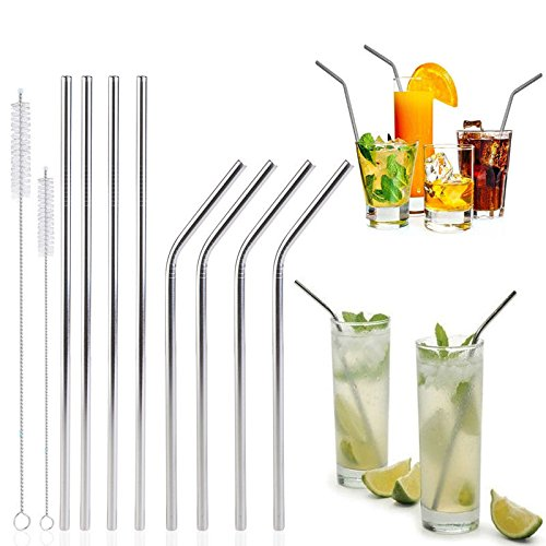 8Set Stainless Steel Reusable Drinking Straws Metal+Brushes for 20/30oz Tumbler