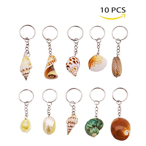 Seashell Keychain Favors - VGoodall 10 PCS Conch Shell Keychain, Natural Seashell Key Ring,Creative Key Pendant for Key Storage