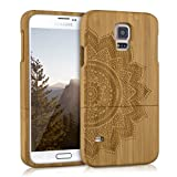 kwmobile Natural wood case with Design half-flower for the > Samsung Galaxy S5 / S5 Neo / S5 LTE+ / S5 Duos < in bamboo light brown