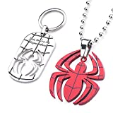 Marvel Stainless Steel Red and Blue Enamel Spider Man Cut Out Pendant with Steel Ball Chain
