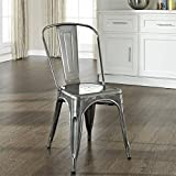 Amelia Metal Cafe Chair in Galvanized Finish - Set of 2