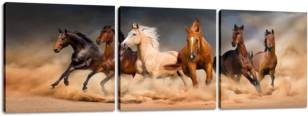 Inzlove Running Horse Animal Painting on Canvas Print Artwork for Home Decor 3 Pieces Wall Art Pictures