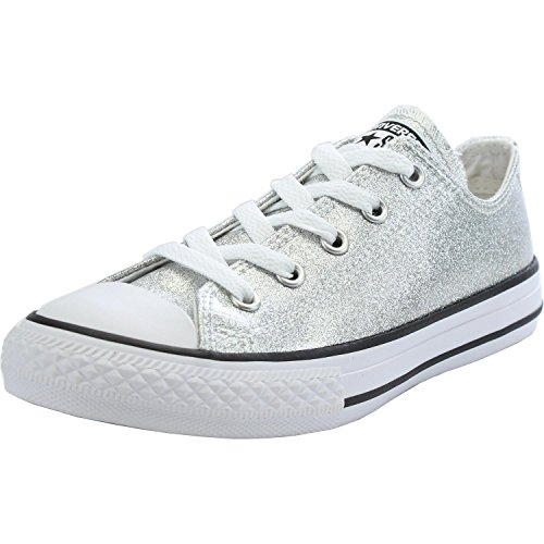 Converse Chuck Taylor All Star Junior Silver Synthetic 3 M US Little Kid - Signature Silver Sneakers Shoes
