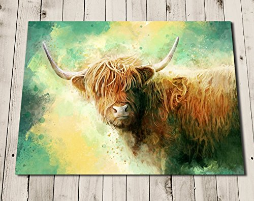 Highland Cow Print - Art Painting - Scottish Cow Portrait - Watercolor Style - Cow Gifts - Animal Art