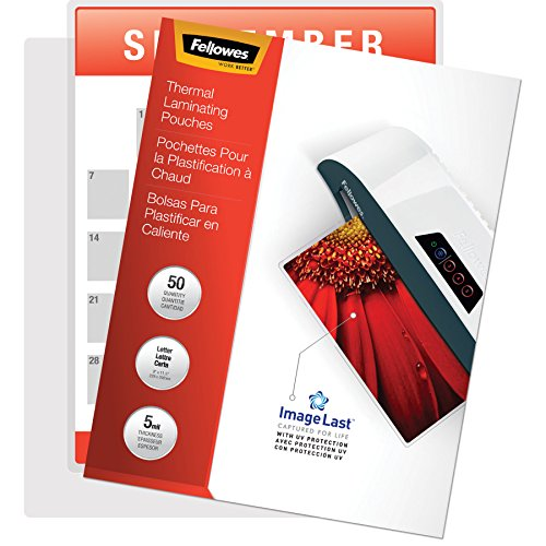 Fellowes Thermal Laminating Pouches, ImageLast, Jam Free, Letter Size, 5 Mil, 50 Pack ()