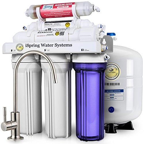 iSpring RCC7AK 6-Stage Under-Sink Reverse Osmosis Drinking Water Filtration System with Alkaline Remineralization Filter - 75 GPD - Undersink Reverse Osmosis System