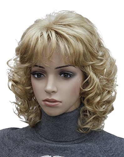 Kalyss Short Blonde Wig with Hair Bangs Women's Curly Wavy Heat Resistant Synthetic Blonde Hair Wigs - http://coolthings.us
