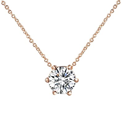 Hktc simple ol style 6 prongs cz diamond pendant necklace rose gold hktc simple ol style 6 prongs cz diamond pendant necklace rose gold plated jewellery for women aloadofball Gallery