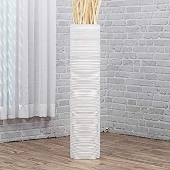 Leewadee Tall Big Floor Standing Vase For Home Decor, 8x36 inches, Wood, white