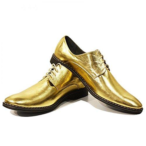 PeppeShoes Modello Oro - Cuero Italiano Hecho A Mano Hombre Piel Oro Zapatos Vestir Oxfords - Piel de Cabra Cuero Suave - Encaje