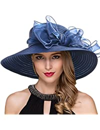fbb714db60c Women Kentucky Derby Church Dress Cloche Hat Fascinator Floral Tea Party  Wedding Bucket Hat S052