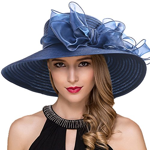 Women Kentucky Derby Church Dress Cloche Hat Fascinator Floral Bucket Hat S052 (S062-Navy) by Ruphedy