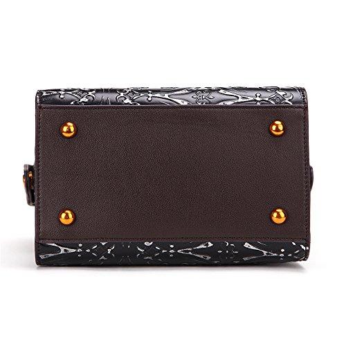 À Vintage Mujer Noir Designer Top De Main Femmes Bolso Gaufrées Sac Handle Viaje Handbags Floral Mano couleur Noir TYq6wfOC