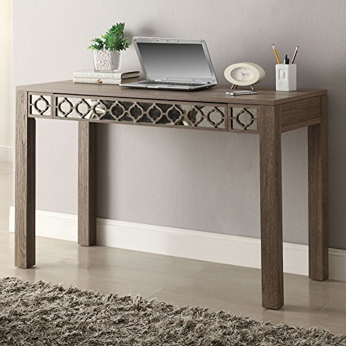 OSP Designs  HLN25-GK Helena Driftwood Style Vintage Ogee Inlay Distressed Mirrored Desk