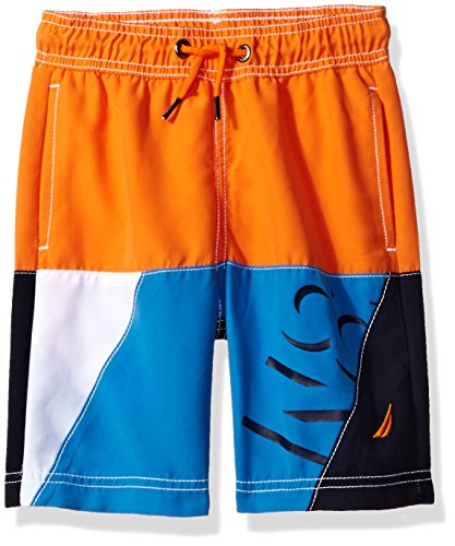 Nautica Little Boys' Swim Trunk with UPF 50+ Sun Protection, Medium Orange, Medium (Nautica Trunk)