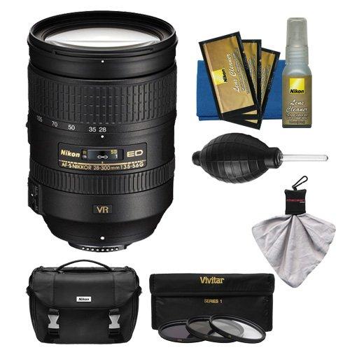 Nikon 28-300mm f/3.5-5.6 G VR AF-S ED Zoom-Nikkor Lens + 3 Filters + Case Kit for D3200, D3300, D5300, D5500, D7100, D7200, D750, D810 Camera by Nikon