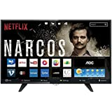 "Smart TV LED 39"" HD com WiFi 1 USB 2 HDMI TV Digital Controle com Botão Netflix, AOC, LE39S5970, Preto"