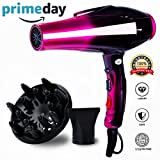 Professional Ionic Hair Dryer,Hand Held Powerful Salon Performance AC Motor Styling Tool/ 3500W Blow Dryer with Nozzle and Diffuser for Women Men Smooth(110V ONLY)