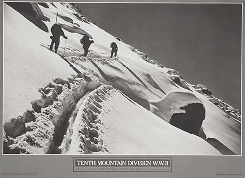 Vintage Ski World Skinning Up Mount of the Holy Cross, Colorado 10th Mountain Division Poster Size 16 x 22 inches
