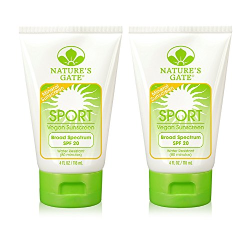 Nature's Gate Mineral Sport Broad Spectrum SPF 20 Sunscreen (Pack of 2) With Shea Butter, Safflower Seed Oil and Rosemary, 4 fl. oz. Each