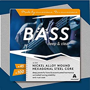AMAZOUND Bass Saiten w.045 w.100 I 4-Saiten-Satz Rock-Sound I E-Bassgitarre