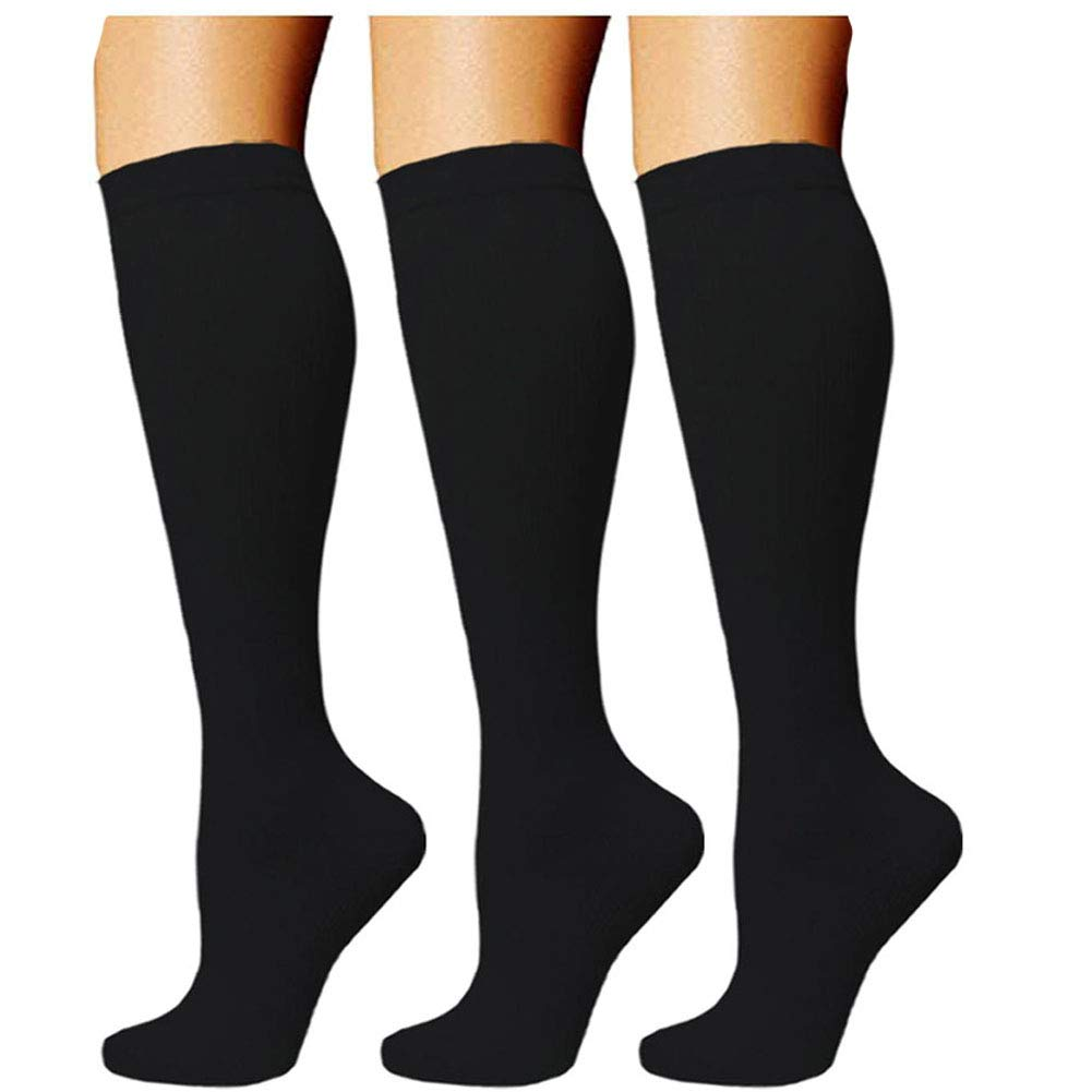 DREAMAC Black Compression Socks,(3 Pairs) Graduation Stocking Socks for Women & Men - Best Running, Athletic Sports, Crossfit, Flight Travel