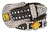 """Hagora Women 1-1/2"""" Wide Genuine Leather Colorful Crystals Metal Buckle Belt"""