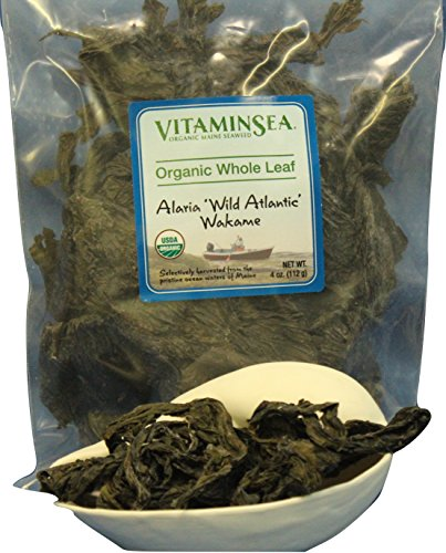 VitaminSea Organic Wakame Whole Leaf - 4 oz Alaria Seaweed - USDA - Vegan Certified - Kosher - Perfect for Keto - Paleo Diets - Sun Dried - Raw - Wild Maine Coast Atlantic Ocean Sea Vegetables (WL 4) (Wakame Sea Vegetable)