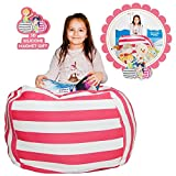 Hold The Door EXTRA LARGE Stuffed Animal Storage Bean Bag Chair - Toy Organizer & Comfy Chair - Perfect Storage Solution for Plush Toys, Blankets, Towels & Clothes - (Pink Striped, 38'')
