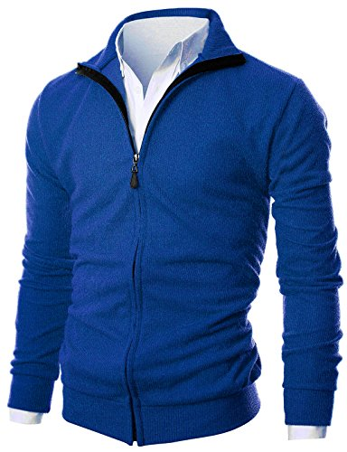 GIVON Mens Slim Fit Light Weight Full Zip Up Cardigan With Inside Soft (Lightweight Zip Cardigan)