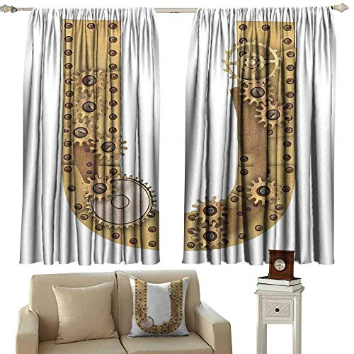 Warm Curtain Letter U Dieselpunk Fantasy Mechanism with Plates U Font Structure Gearwheel Theme Print Light Blocking Drapes with Liner W55 xL45 Sand Brown