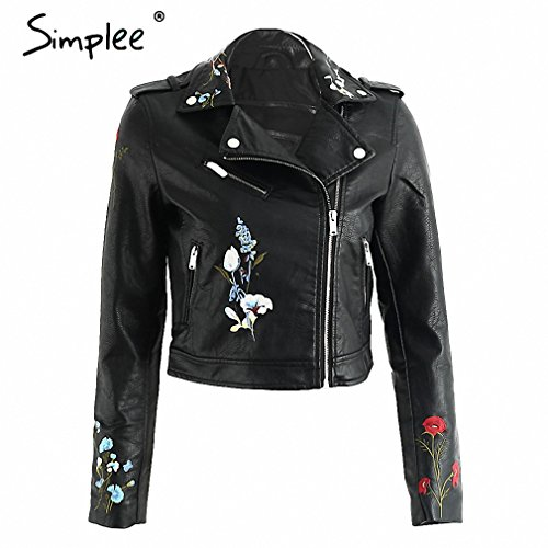 Embroidery black leather jacket women Zipper motorcycle faux leather coat Winter biker jacket outerwear & coats Black XL