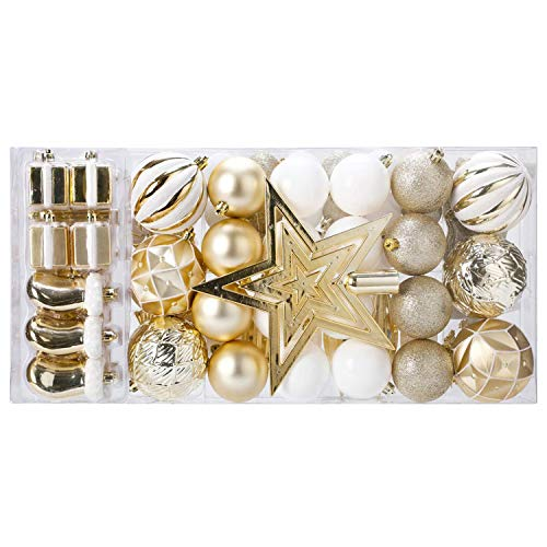 Christmas Ball Tree Ornaments Set (88 Piece), Christmas Decoration Assorted Shatterproof Balls for Xmas Hanging Baubles Set with Hand-held Gift Package for Holiday Xmas Tree Decorations (Gold White)