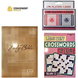 Large Print Bundle - Comes with Large Print Bible (KJV) Large Print Crossword Puzzles (1 book) for Adults & Large Print Playing Cards (2 pack)