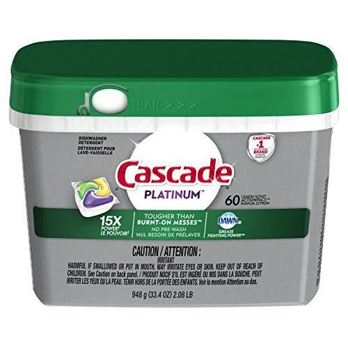 Cascade Platinum ActionPacs Dishwasher Detergent Soap, Lemon Scent, 60  Count